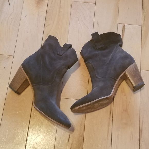 Alberto Fermani brown gray stacked heel booties 38